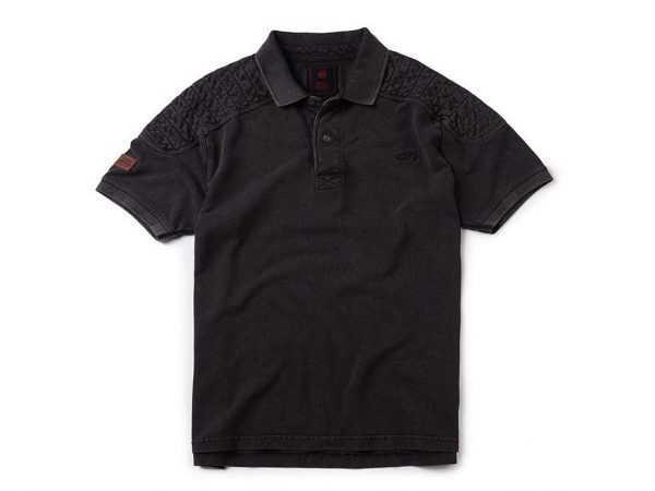 Remera negra tipo polo con logo Royal enfield y detalle en los hombros. Nueva. Original.