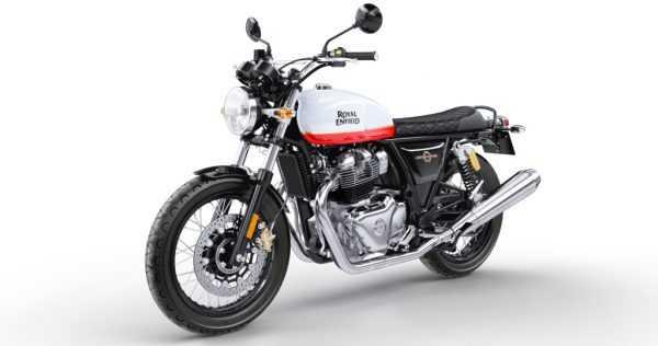 Moto negra con detalles en blanco y rojo marca Royal Enfield.