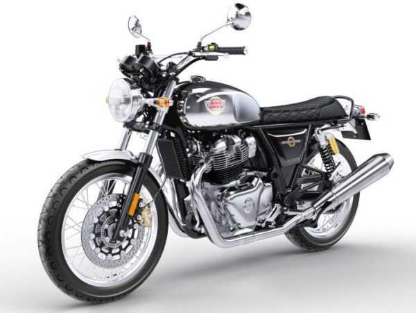 Moto Interceptor 650 color plateada y negro.