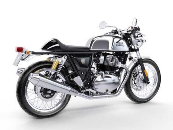 Vista lateral derecha de moto Continental gts 650 Chrome de Royal Enfield.