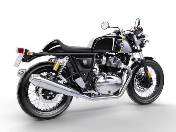 Moto color negro con detalles en plateado modelo Interceptor 650. Vista lateral derecho