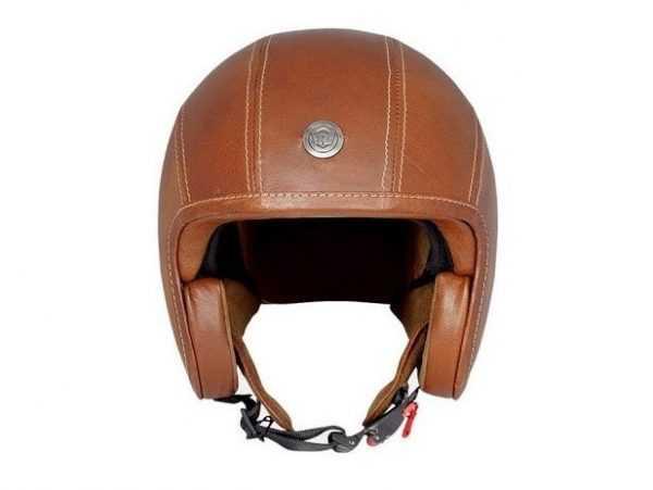 Casco color marrón con detalle en el frente marca royal Enfield. Vista frontal