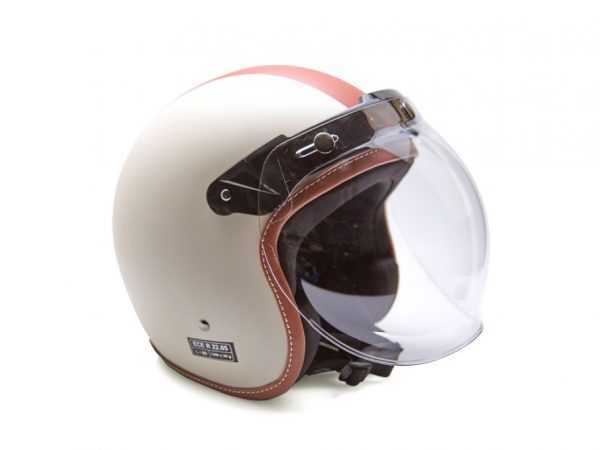 Casco blanco con línea rojo, modelo spirit y vista frontal izquierda.