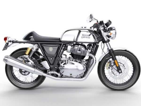 Moto Continental gts vista derecha color negro con detalles en plateado y logo Royal Enfield